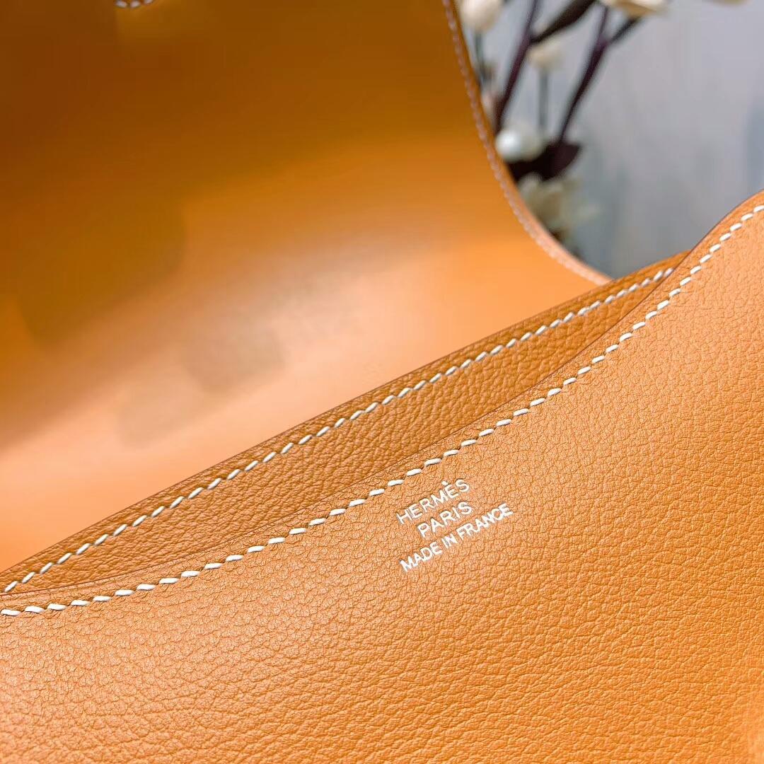 爱马仕空姐包 Constance 19cm Evercolor 1H太妃糖金 银扣 蜜蜡线手缝