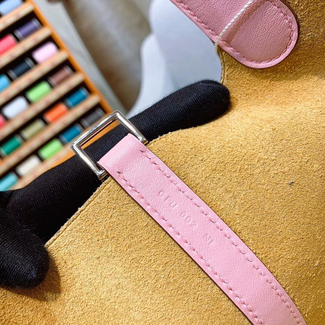 爱马仕菜篮子 Picotin Lock 18cm Clemence/Swift 1Z小鸡黄/3Q芭比粉 银扣 蜜蜡线手缝