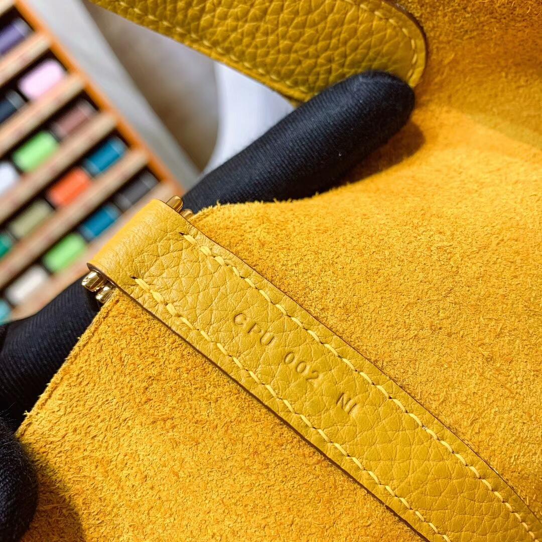 爱马仕菜篮子 Picotin Lock 18cm Clemence 9D琥珀黄 金扣 蜜蜡线手缝