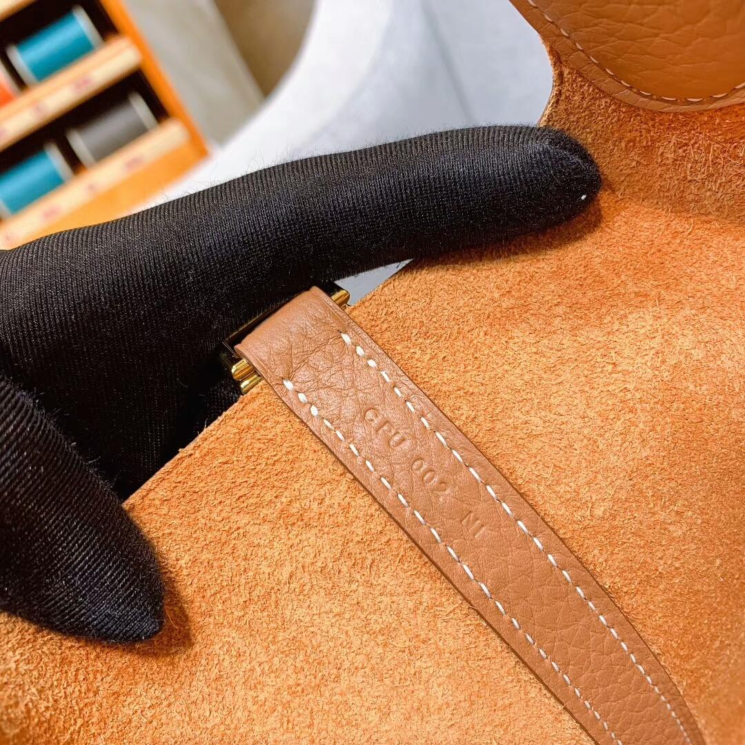 爱马仕菜篮子 Picotin Lock 18cm Clemence 37金棕 金-银扣 蜜蜡线手缝