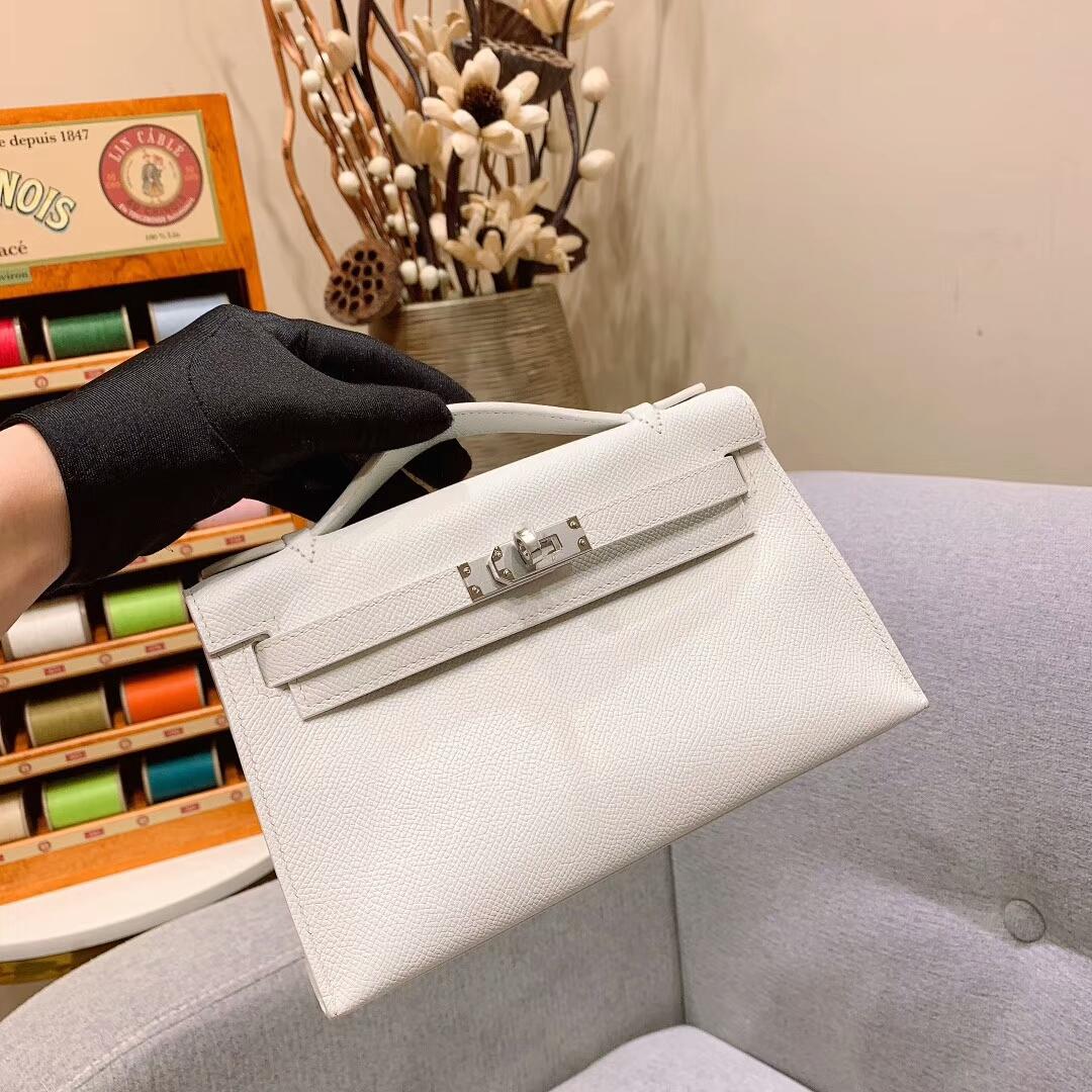 爱马仕包包 Mini Kelly Epsom 01纯白 银扣 蜜蜡线手缝