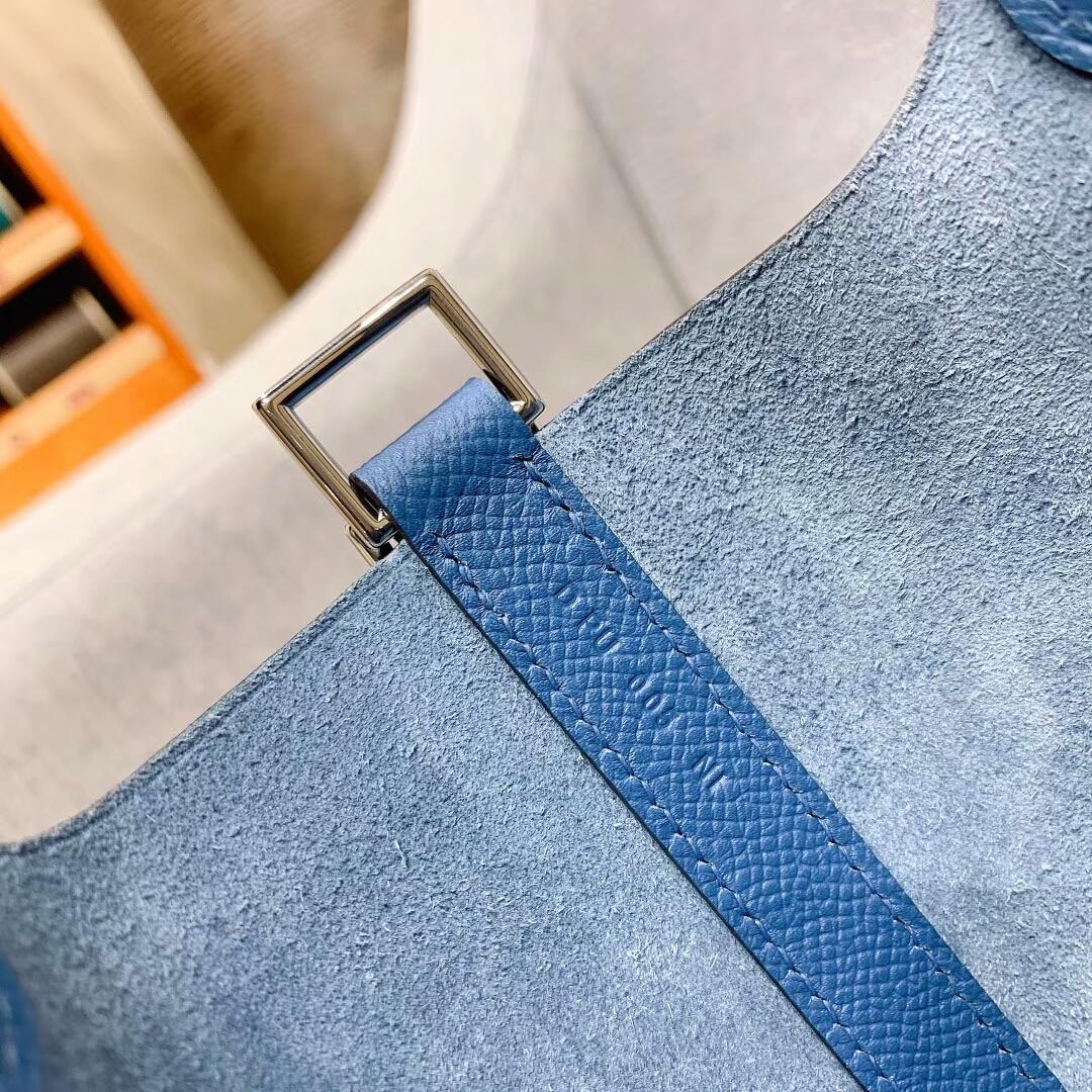 爱马仕菜篮子 Picotin Lock 18cm Epsom编制手柄 R2玛瑙蓝 银扣 蜜蜡线全手缝