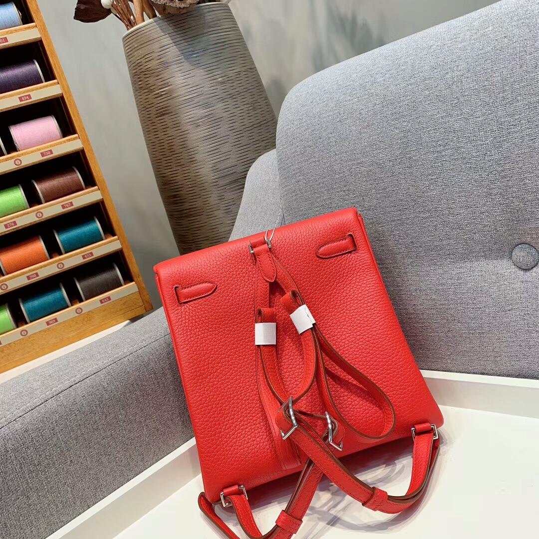 爱马仕包包 Kelly Ado 22cm Clemence S5番茄红 金-银扣 蜜蜡线手缝