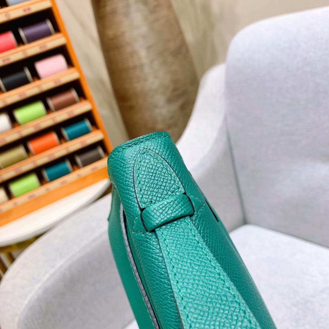 爱马仕包包 Mini Kelly Epsom Z6孔雀绿 银扣 蜜蜡线手缝