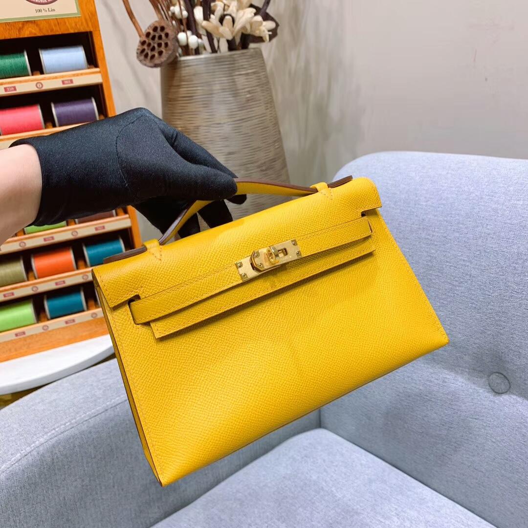 爱马仕包包 Mini Kelly Epsom 9D琥珀黄 金扣 蜜蜡线手缝