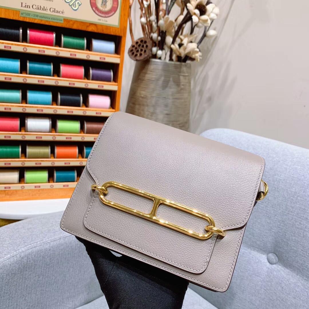 爱马仕猪鼻子 Roulis 19cm Evercolor M8沥青灰 金-银扣 蜜蜡线手缝