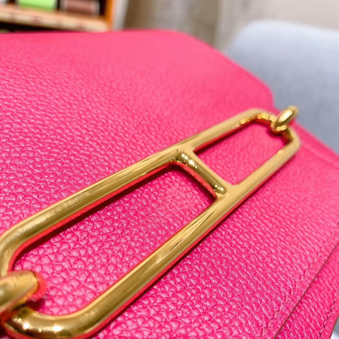 爱马仕猪鼻子 Roulis 19cm Evercolor L3玫瑰紫 金扣 蜜蜡线手缝