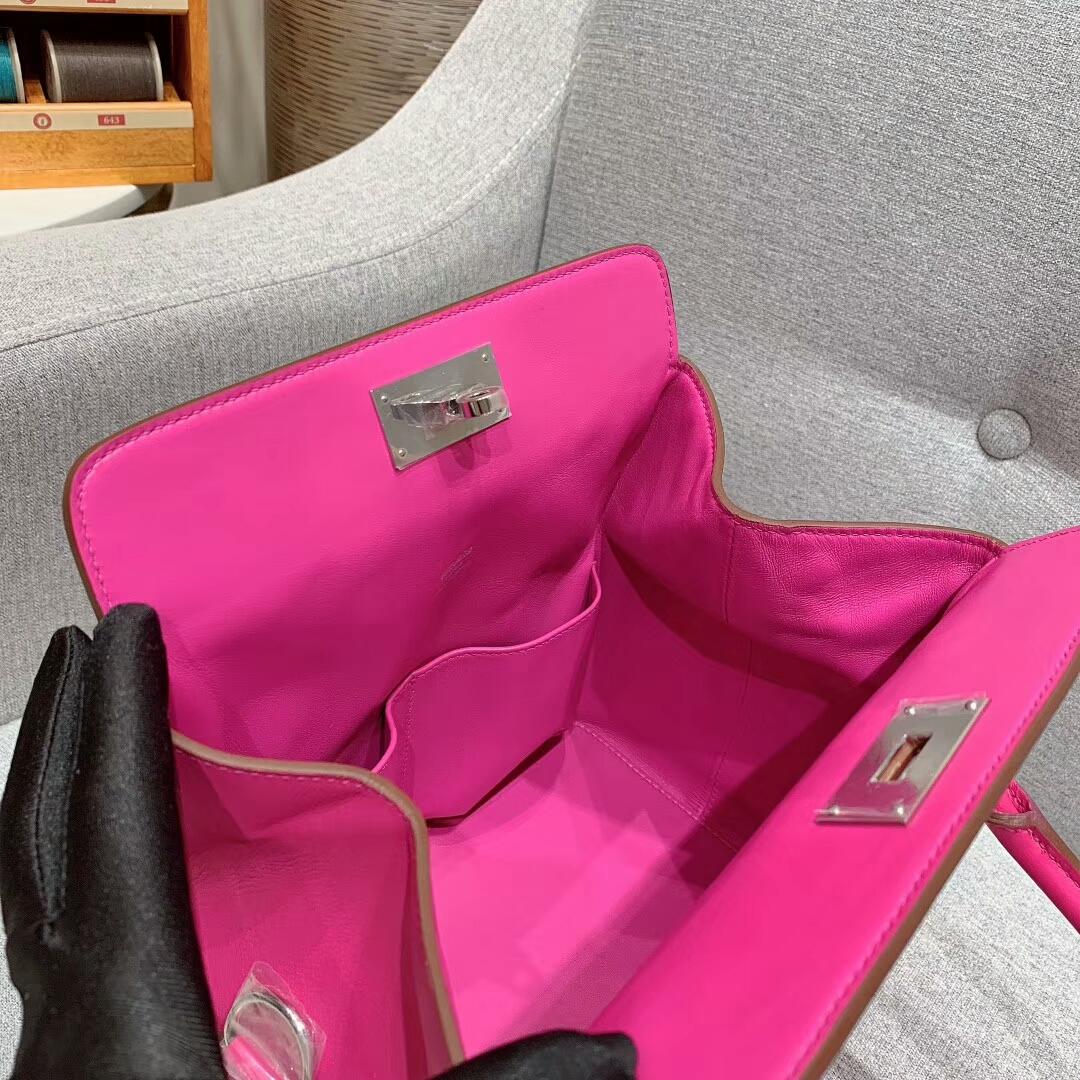 Hermes包包 Toolbox 20cm Swift I9玉兰粉 银扣 蜜蜡线手缝