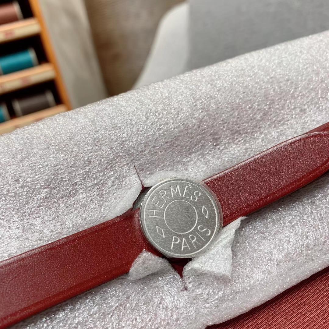 爱马仕包包 Herbag 31cm 55爱马仕红 蜡线全手缝
