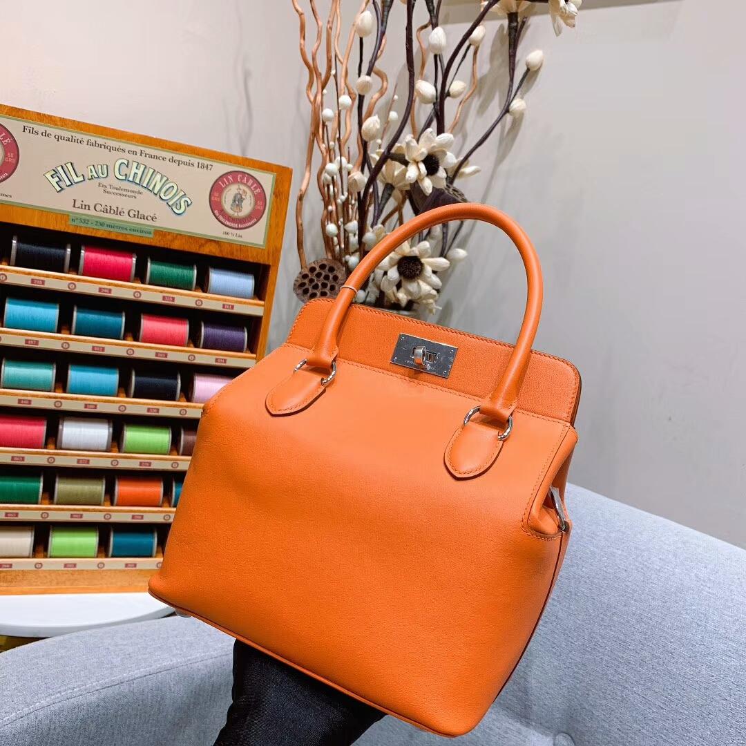 Hermes包包 Toolbox 20cm Swift 93橙色 银扣 蜜蜡线手缝
