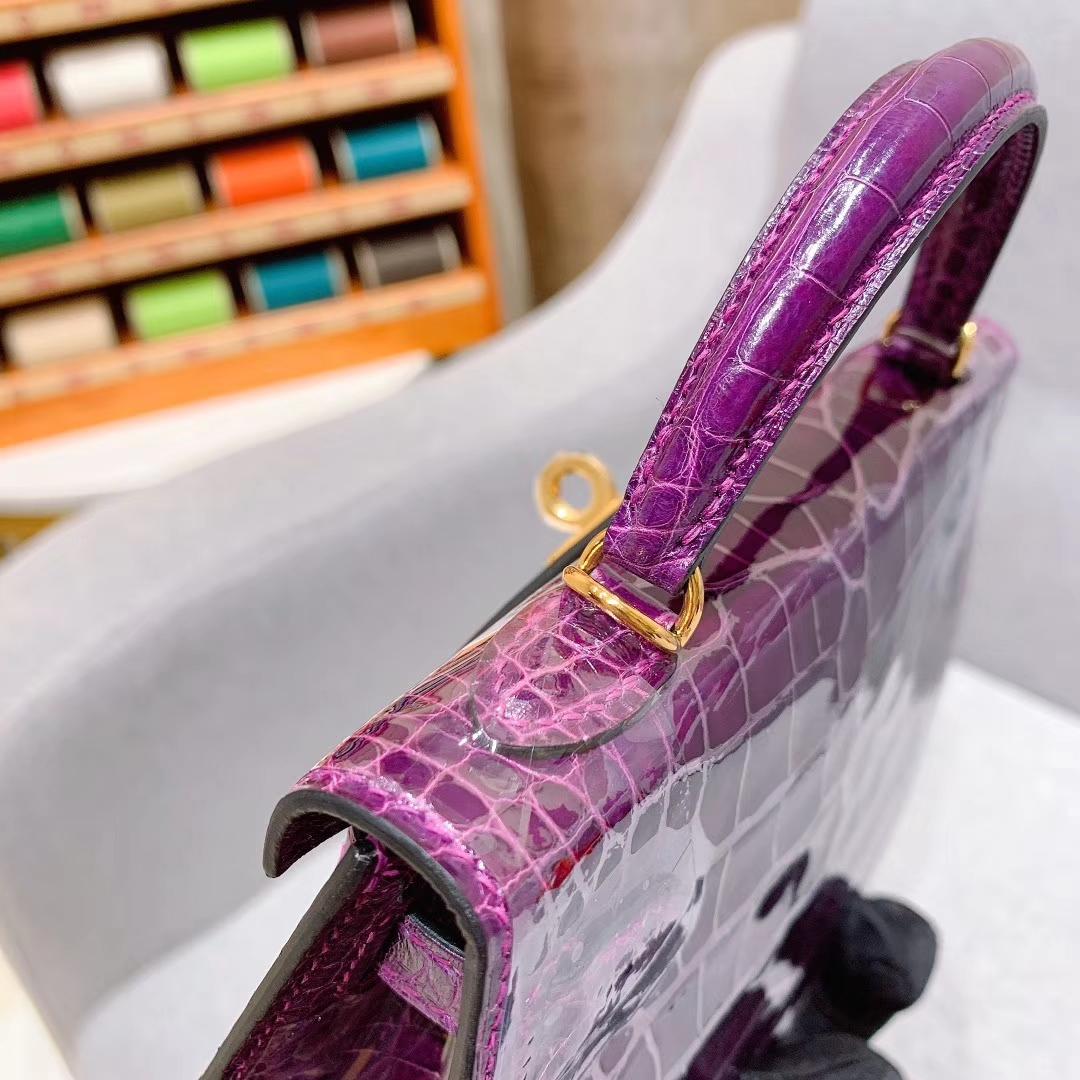 爱马仕包包批发 Mini Kelly 2代 19cm Shiny Alligator 美洲方块鳄 9G水晶紫 金扣