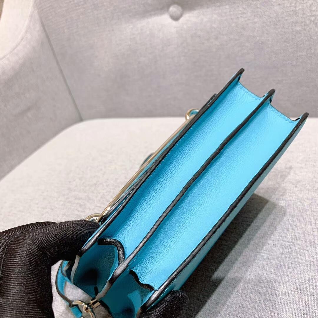 爱马仕猪鼻子 Roulis 19cm Evercolor P3北方蓝 银扣 蜜蜡线手缝