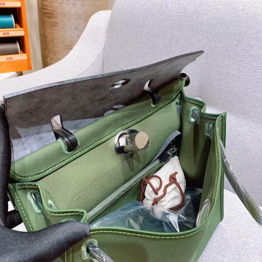 爱马仕包包 Herbag 31cm V6丛林绿 蜡线全手缝