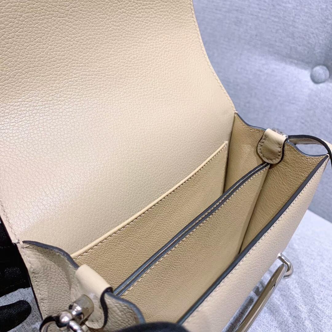爱马仕猪鼻子 Roulis 19cm Evercolor S2风衣灰 银扣 蜜蜡线手缝