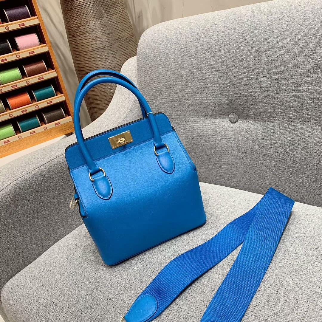 Hermes包包 Toolbox 20cm Swift 7Q希腊蓝 金-银扣 蜜蜡线手缝