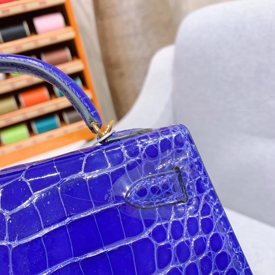 爱马仕包包批发 Mini Kelly 2代 19cm Shiny Alligator 美洲方块鳄 T7电光蓝 金扣