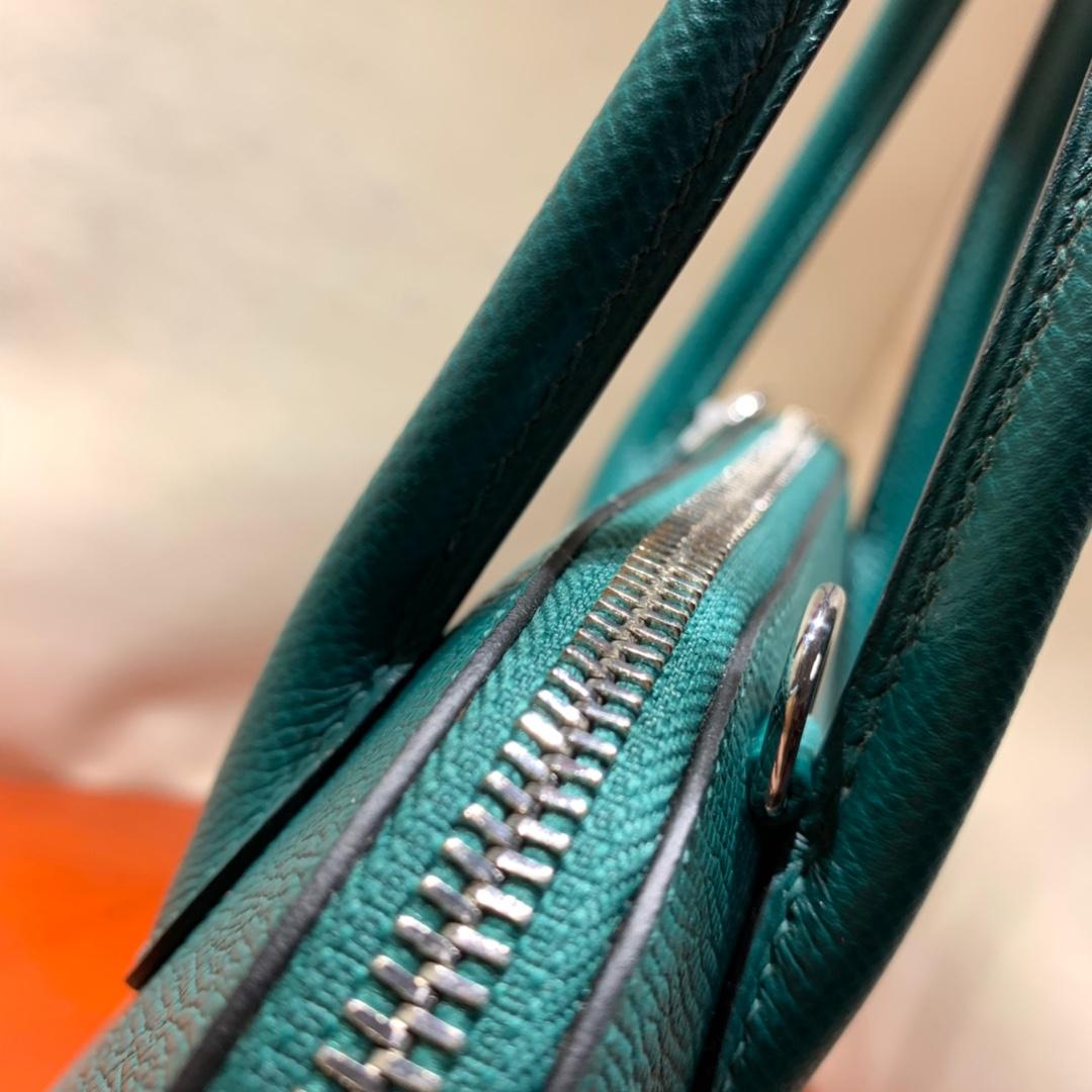 爱马仕包包批发 Bolide 27cm Epsom Z6孔雀绿 银扣 蜜蜡线手缝