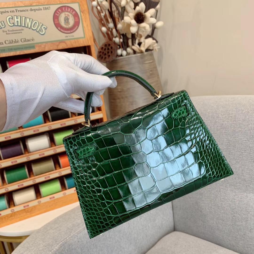 爱马仕包包批发 Mini Kelly二代 Alligator Crocodile 方块美洲鳄 67祖母绿 金扣