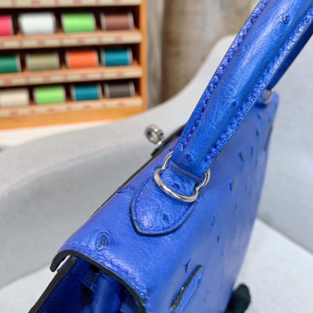 爱马仕包包 Kelly 25cm Ostrich I7琉璃蓝 银扣