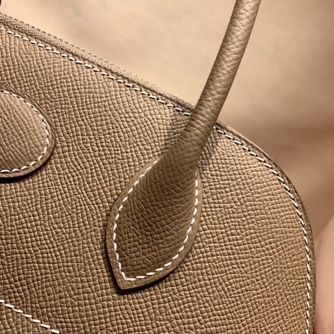 爱马仕包包批发 Bolide 27cm Epsom 18大象灰 银扣 蜜蜡线手缝