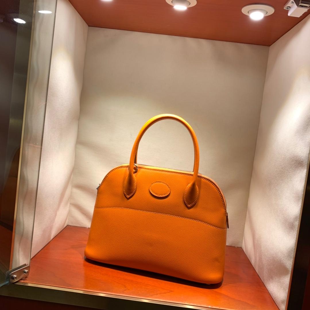 爱马仕包包批发 Bolide 27cm Epsom 93橙色 银扣 蜜蜡线手缝