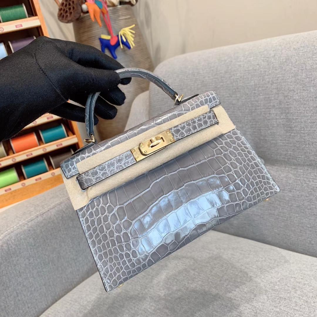 爱马仕包包批发 Mini Kelly二代 Alligator Crocodile 方块美洲鳄 8U冰川灰 金-银扣