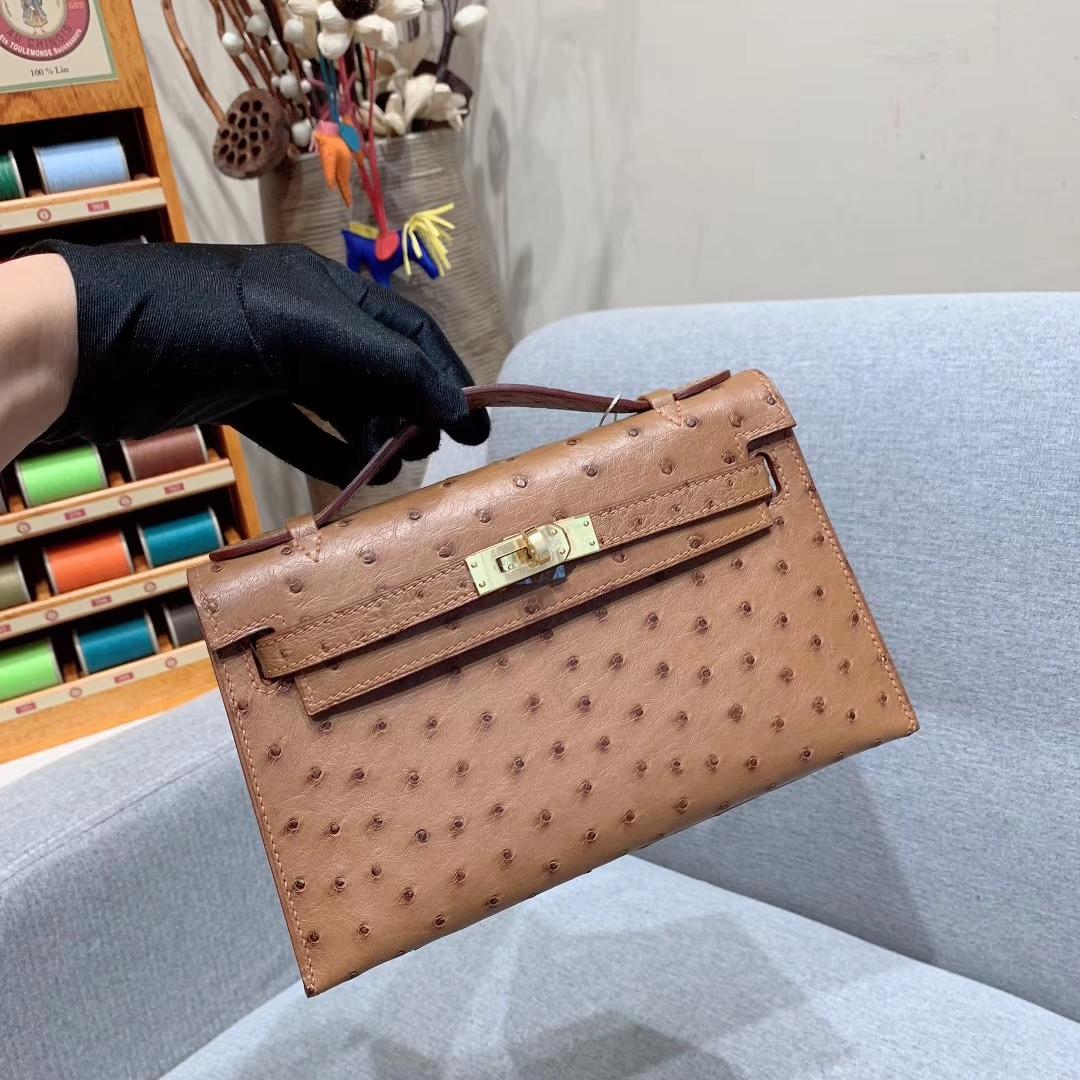 Hermes爱马仕 Mini Kelly1代 22cm Ostrich 37金棕 金扣