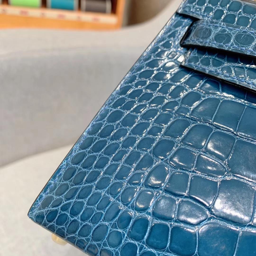 爱马仕包包批发 Mini Kelly二代 Alligator Crocodile 方块美洲鳄 1P鸭子蓝 金-银扣
