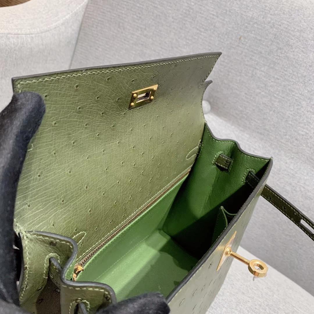 爱马仕包包 Kelly 25cm Ostrich V6丛林绿 金扣