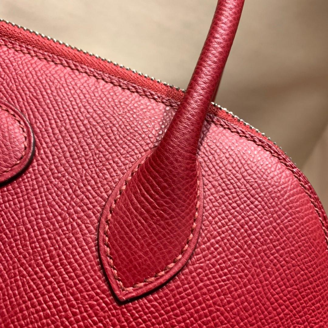 爱马仕包包批发 Bolide 27cm Epsom K1石榴红 银扣 蜜蜡线手缝