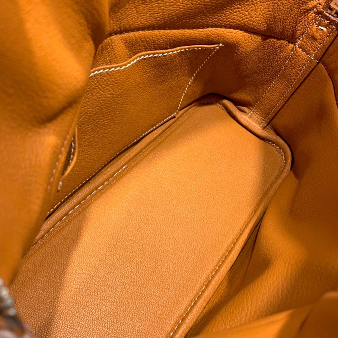爱马仕包包批发 Bolide 27cm Clemence 37金棕 银扣 蜜蜡线手缝