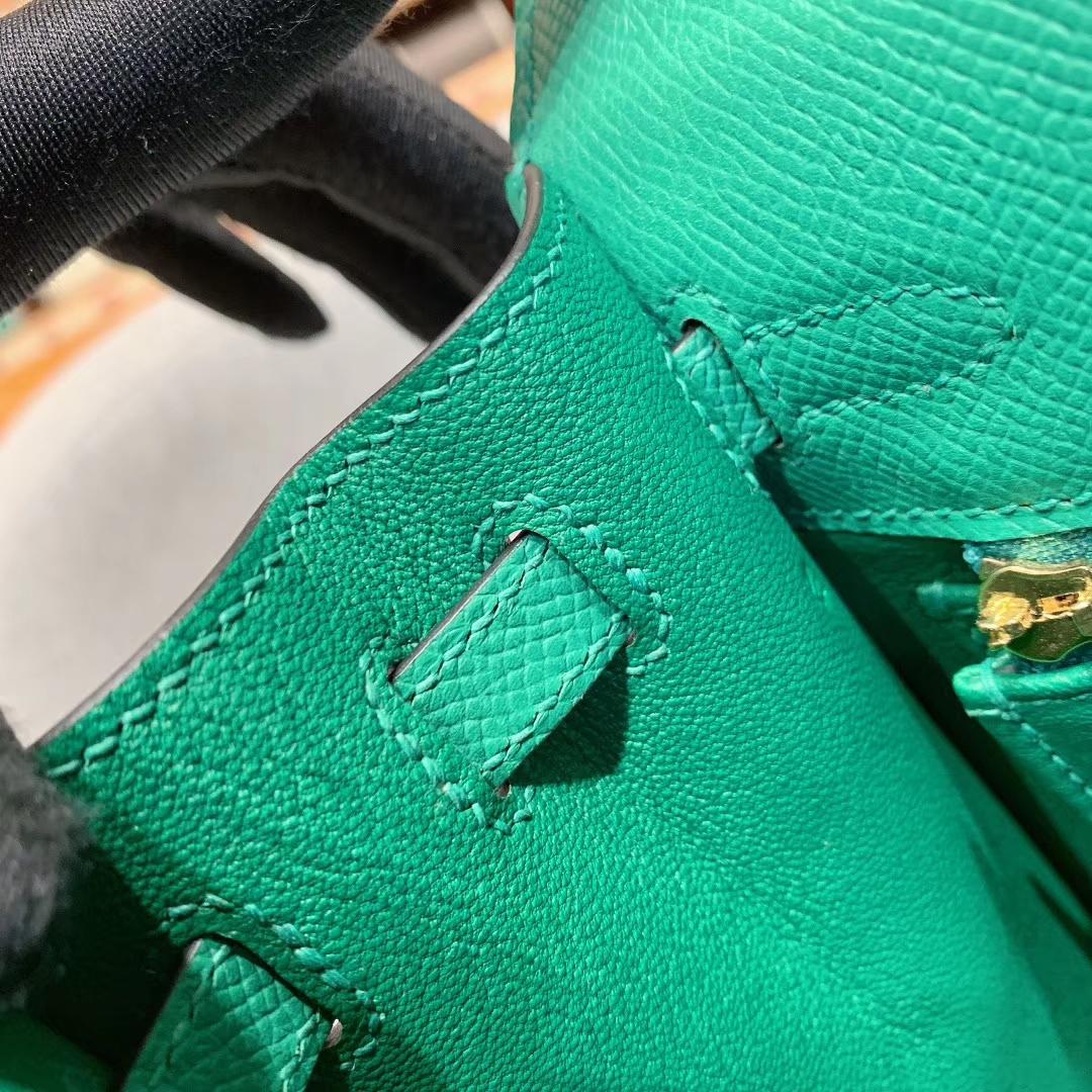 爱马仕包包 Kelly 25cm Epsom U4丝绒绿 金-银扣