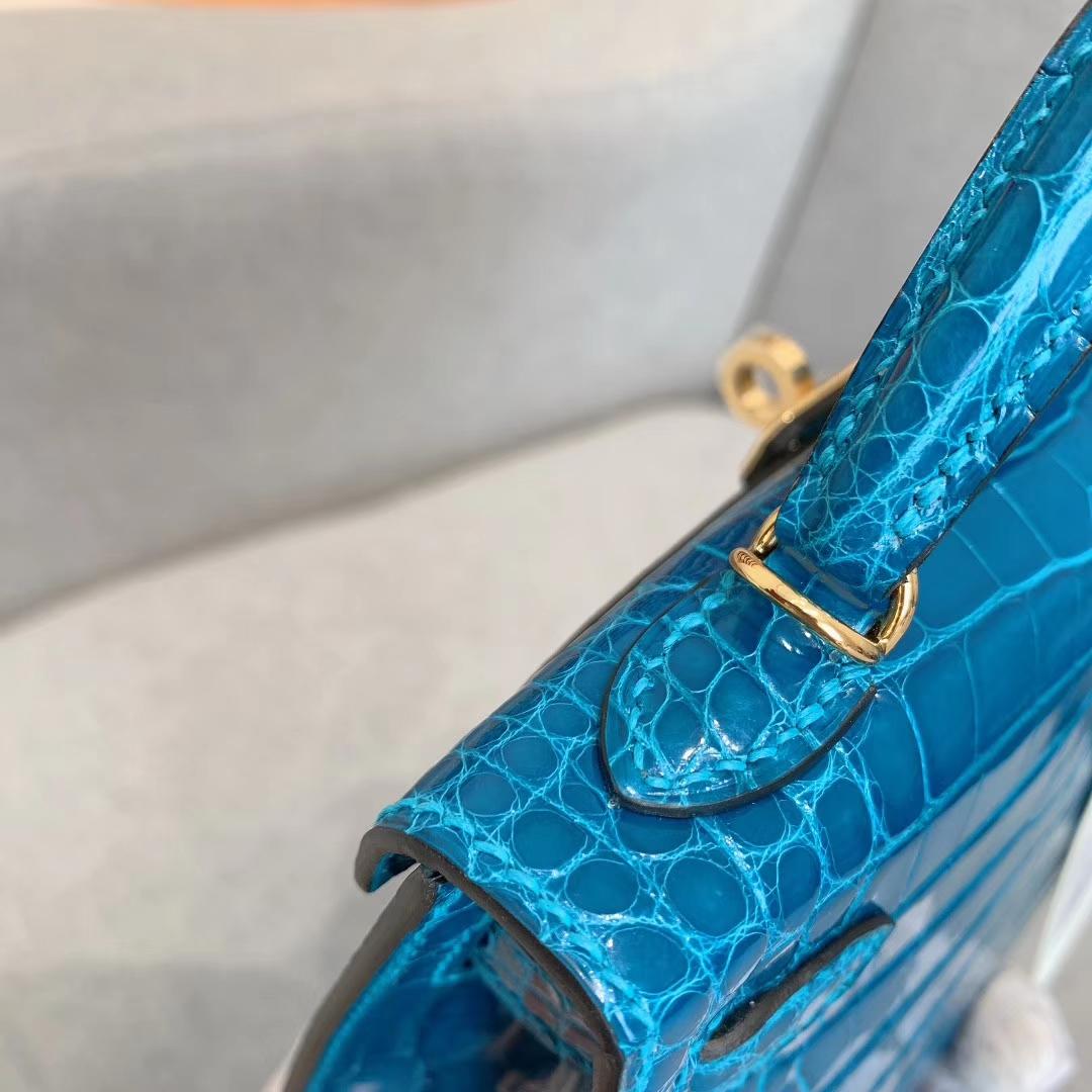 爱马仕包包批发 Mini Kelly二代 Alligator Crocodile 方块美洲鳄 7W伊兹密尔蓝 金扣