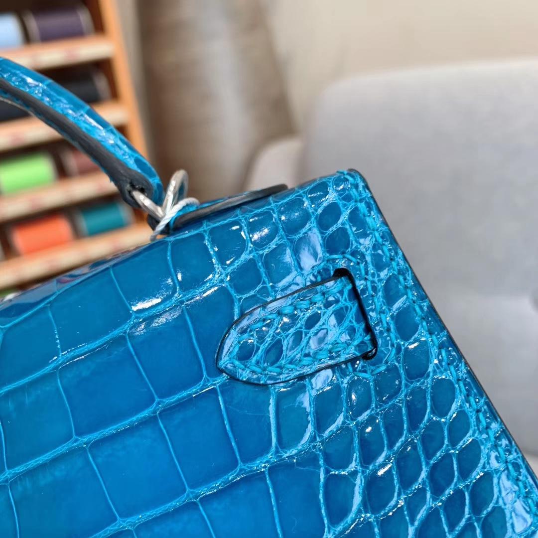 爱马仕包包批发 Mini Kelly二代 Alligator Crocodile 方块美洲鳄 7W伊兹密尔蓝 银扣