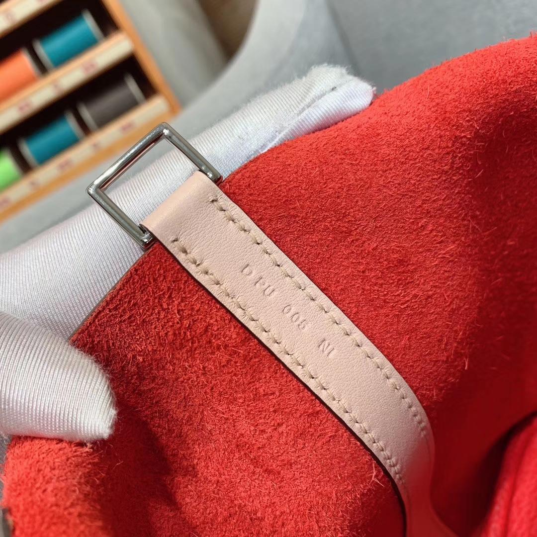 爱马仕菜篮子 Picotin Lock 18cm Clemence Swift S5番茄红/P1蔷薇粉 银扣