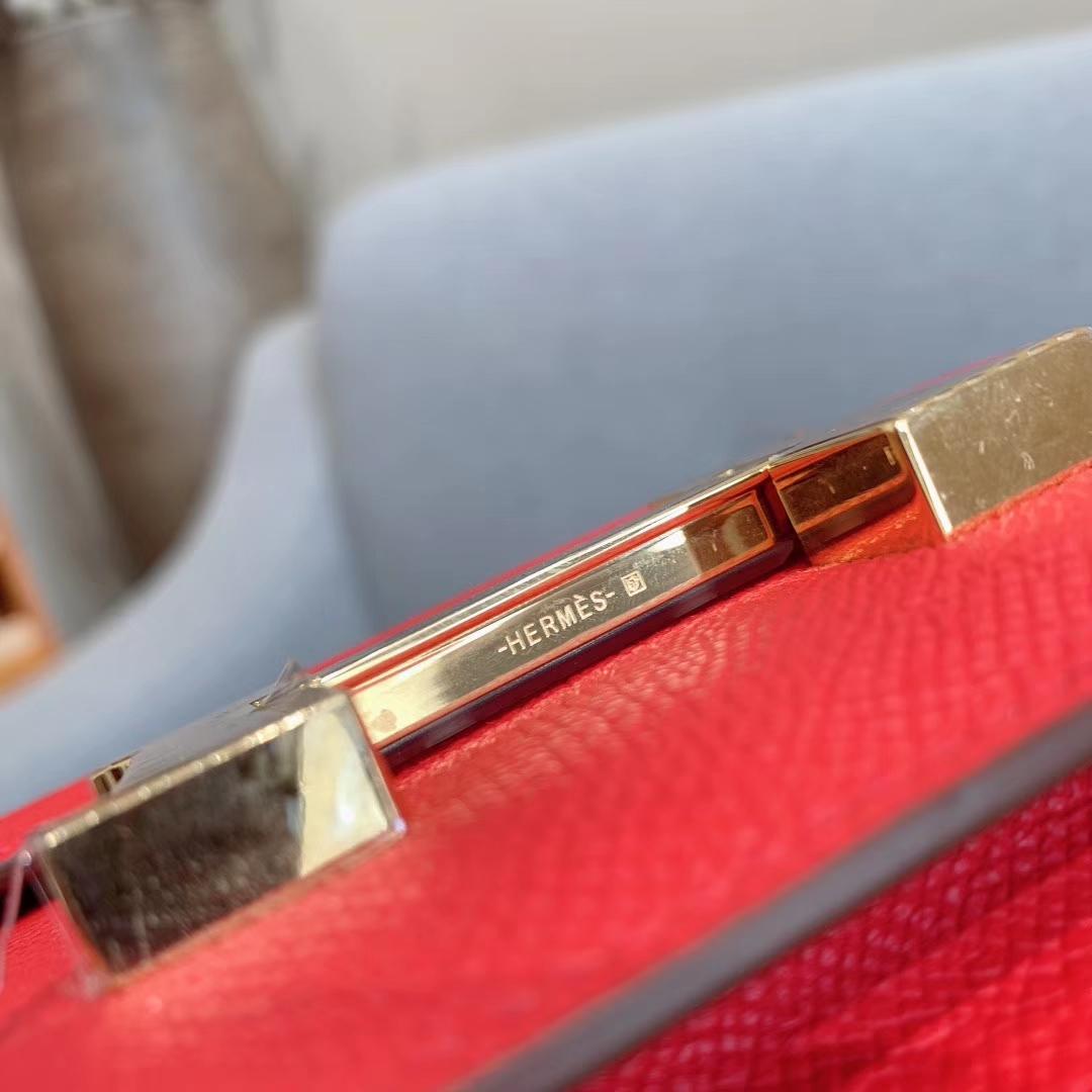 爱马仕空姐包 Constance 19cm Epsom S3心红色 金扣