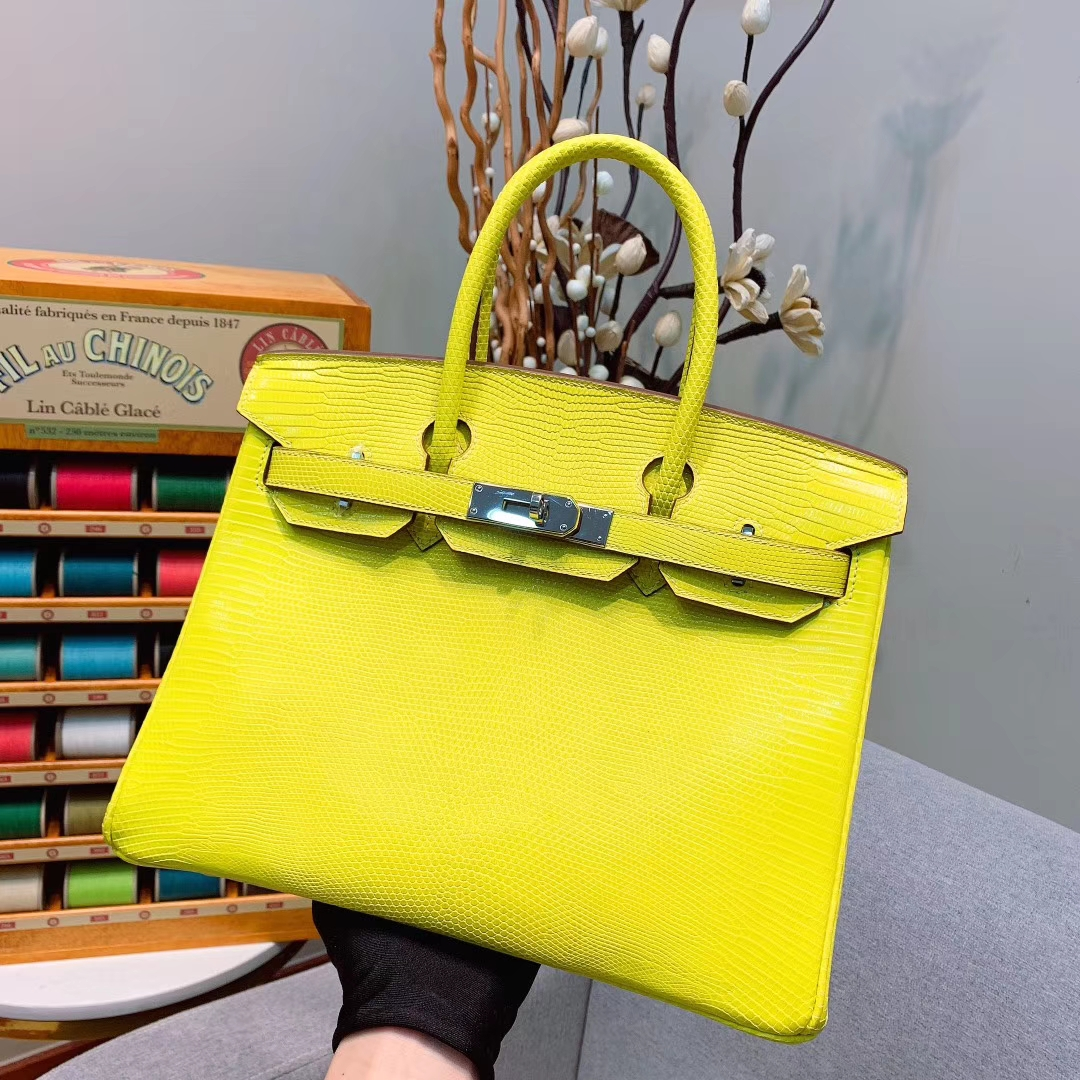 爱马仕包包 Birkin 30cm Lizard东南亚原产蜥蜴 9R柠檬黄 银扣 蜜蜡线全手缝