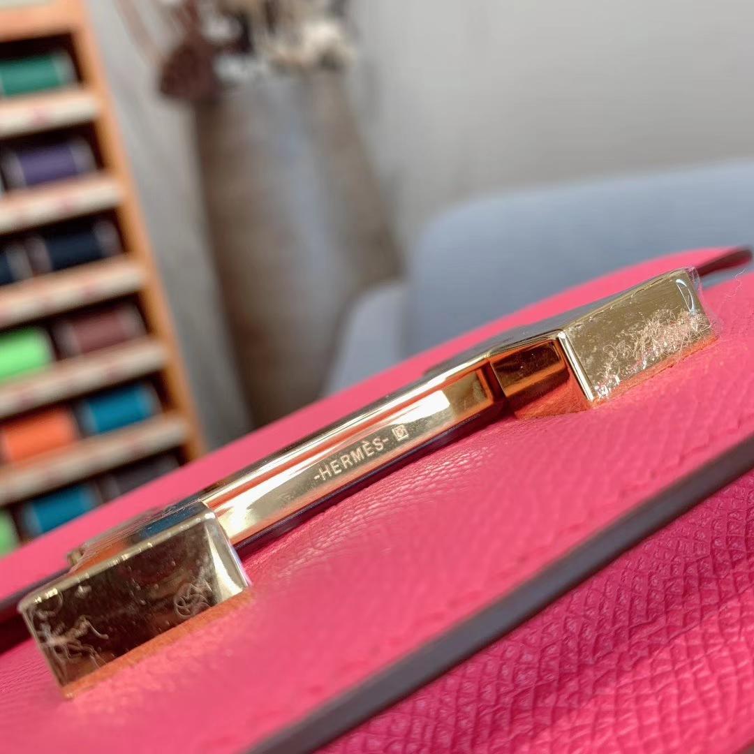爱马仕空姐包 Constance 19cm Epsom 8W唇膏粉 金扣