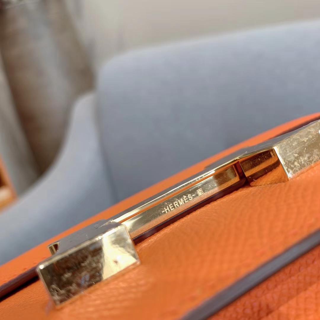 爱马仕空姐包 Constance 19cm Epsom 93橙色 金扣