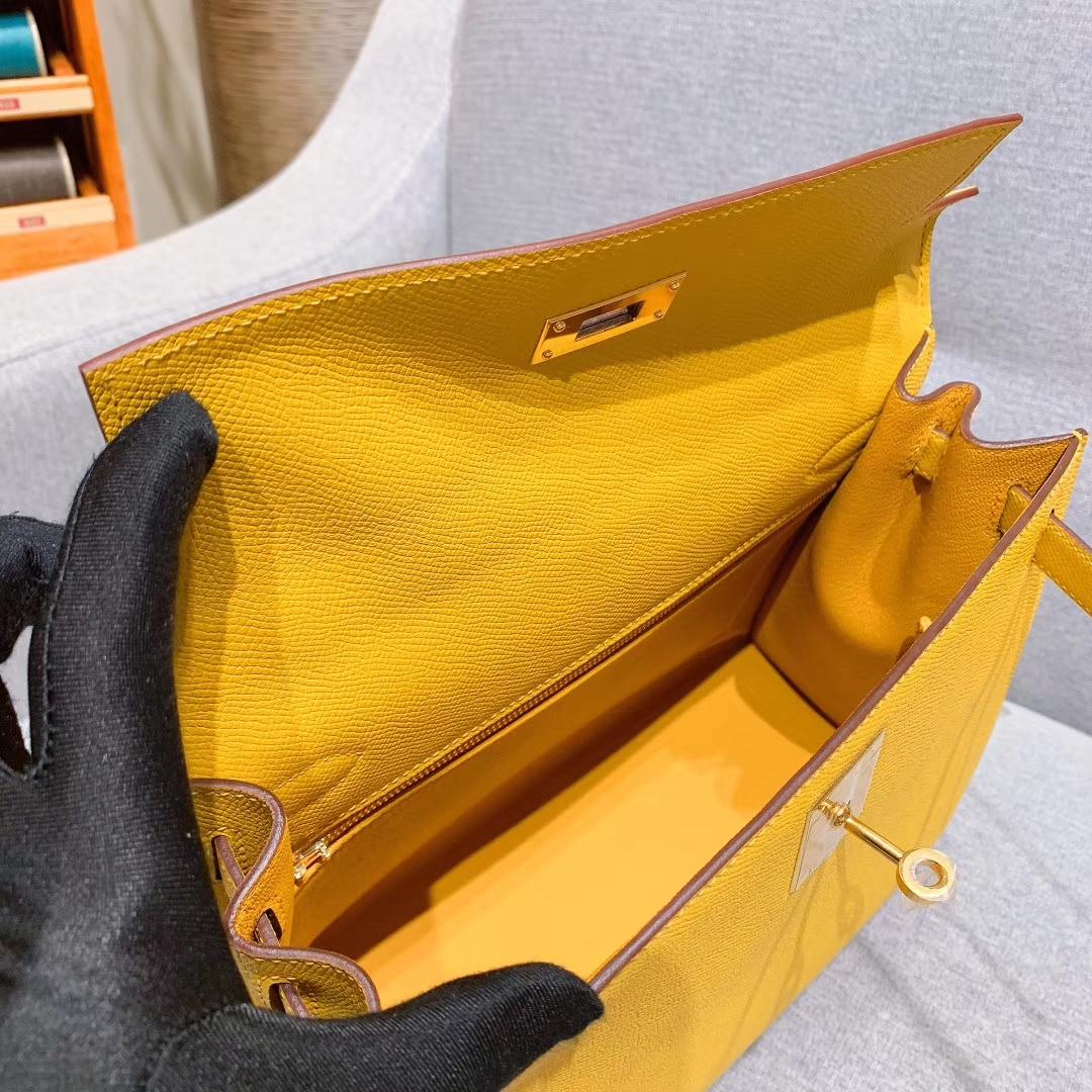 爱马仕厂家 Kelly 28cm Epsom 9D琥珀黄 金扣