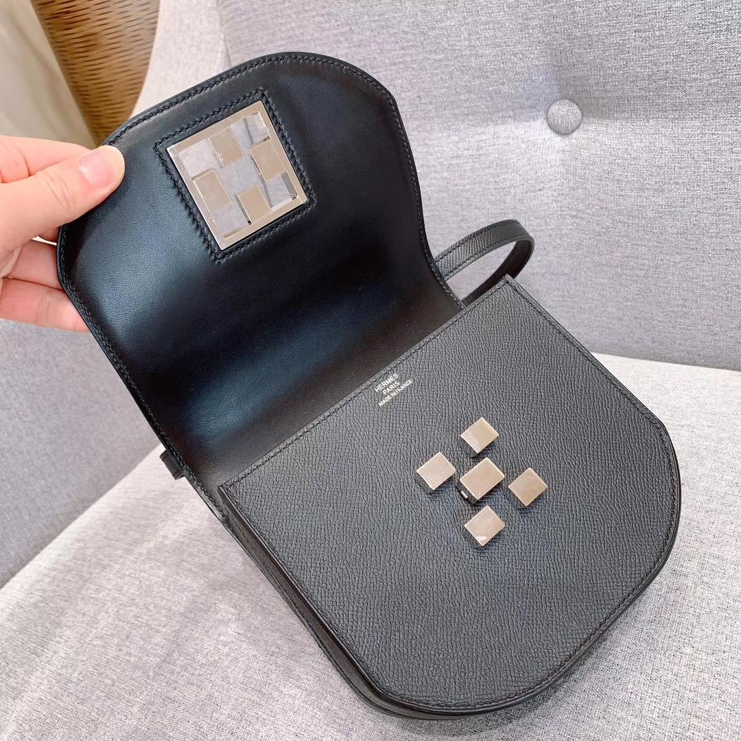 爱马仕包包 Mosaique马赛克 17cm Epsom 89黑色 银扣