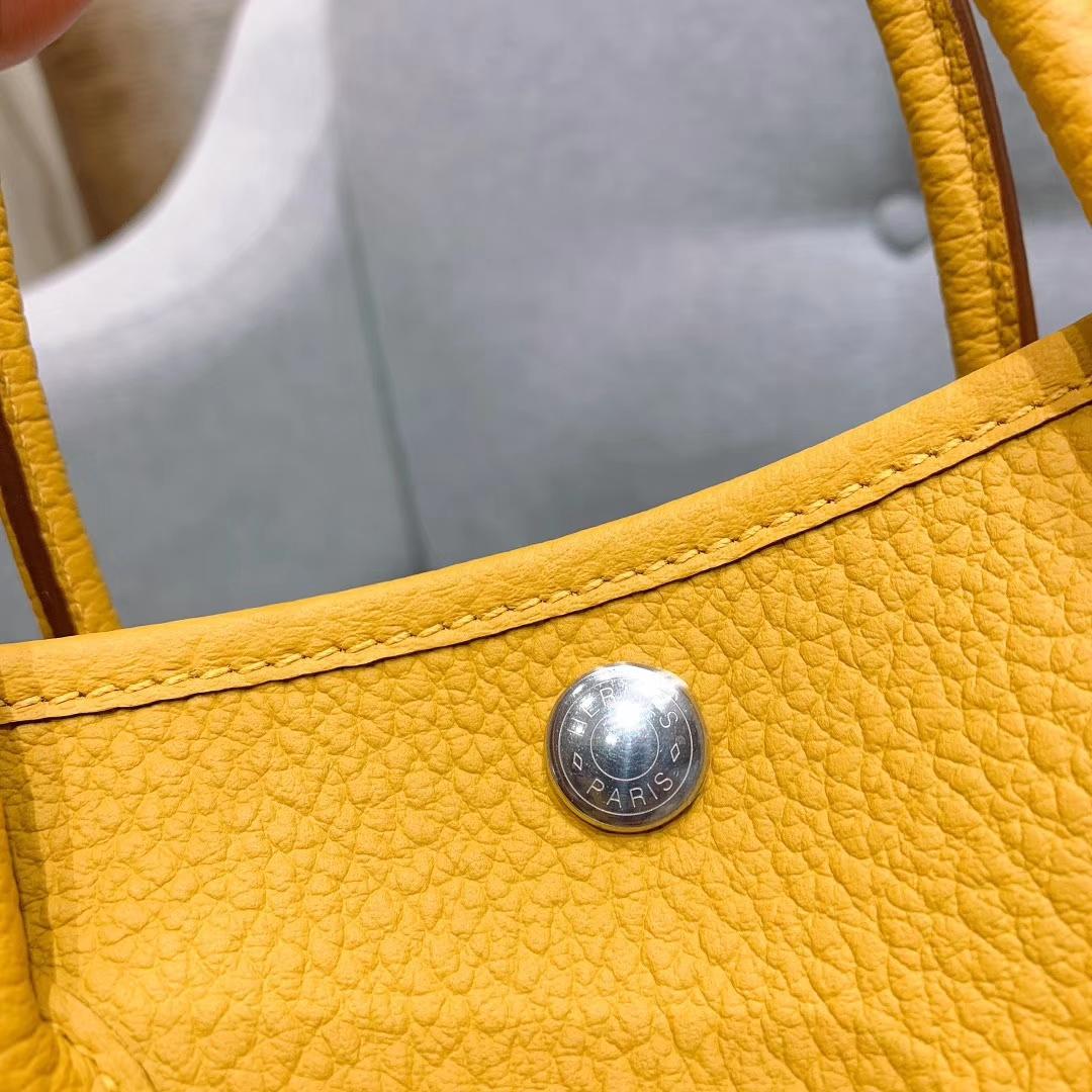 爱马仕包包 Garden Party 30cm Country 9D琥珀黄 银扣