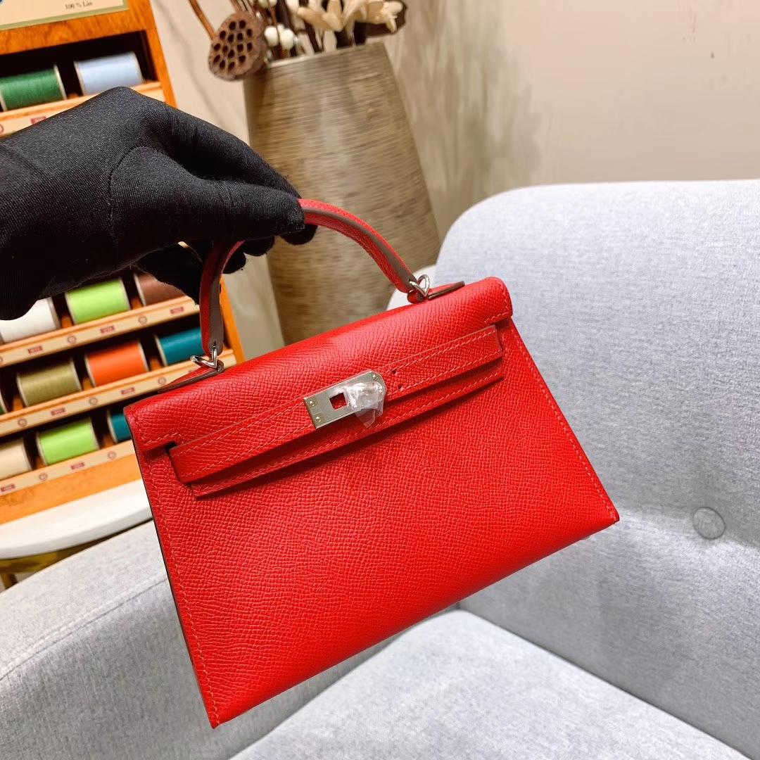 爱马仕批发 Mini Kelly二代 19cm Epsom Q5中国红 金-银扣 蜜蜡线手缝