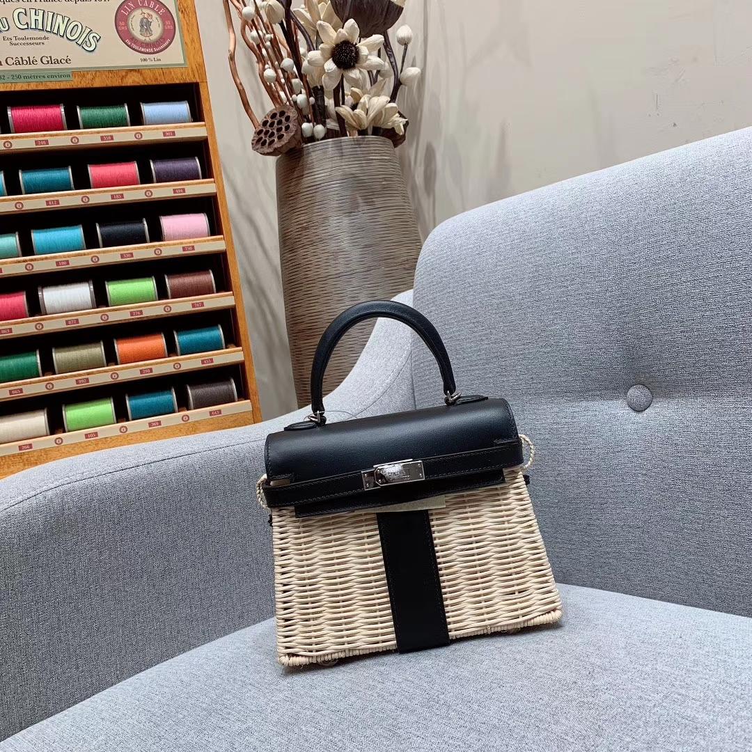 爱马仕包包 Kelly Picnic 藤条系列野餐包 89黑色 银扣