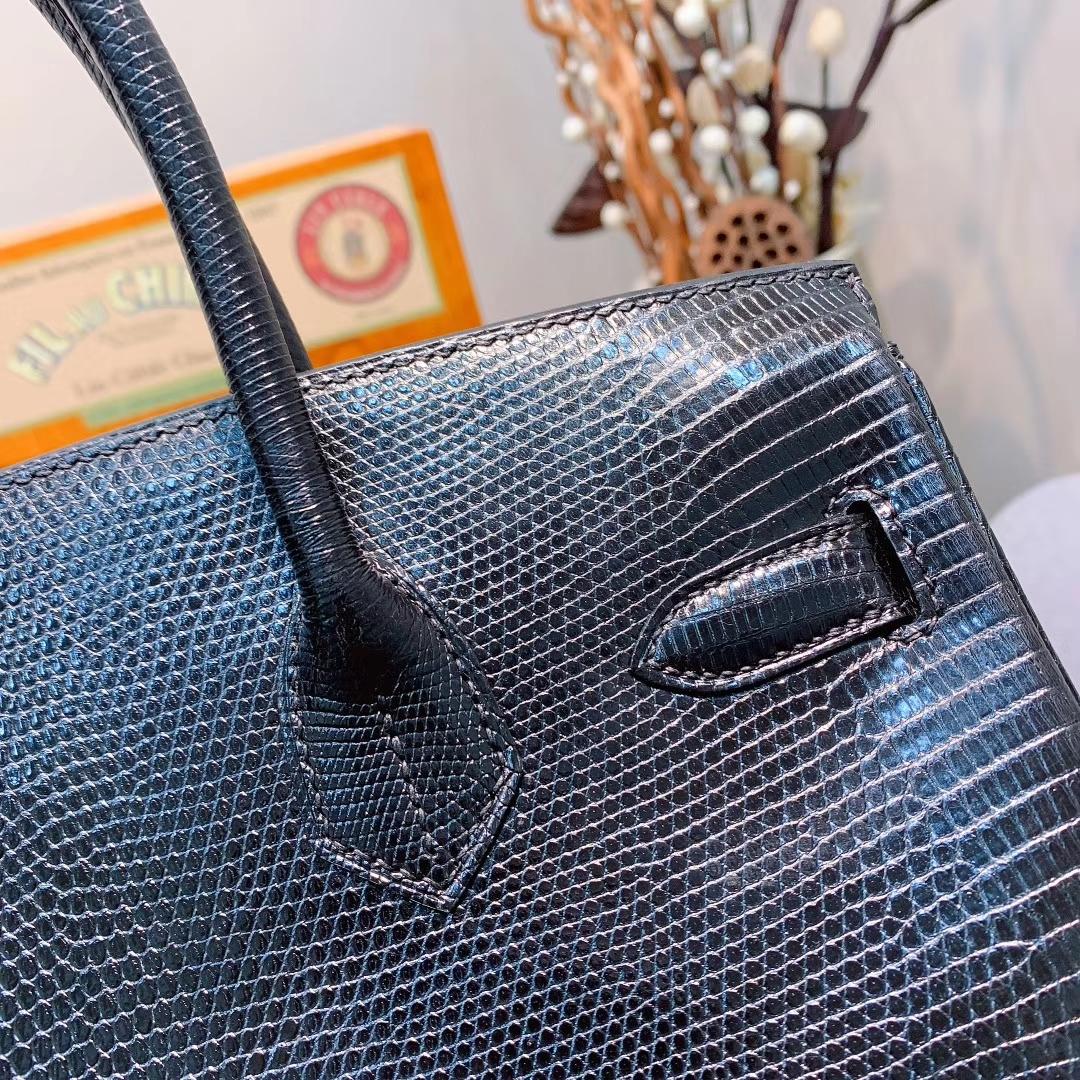 爱马仕包包 Birkin 30cm Lizard东南亚原产蜥蜴 89黑色 银扣 蜜蜡线全手缝