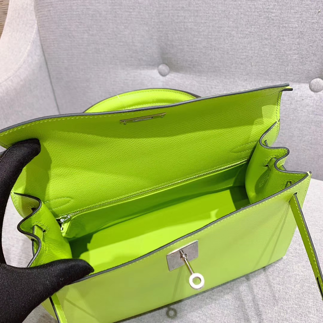爱马仕厂家 Kelly 28cm Epsom 6R荧光绿 银扣