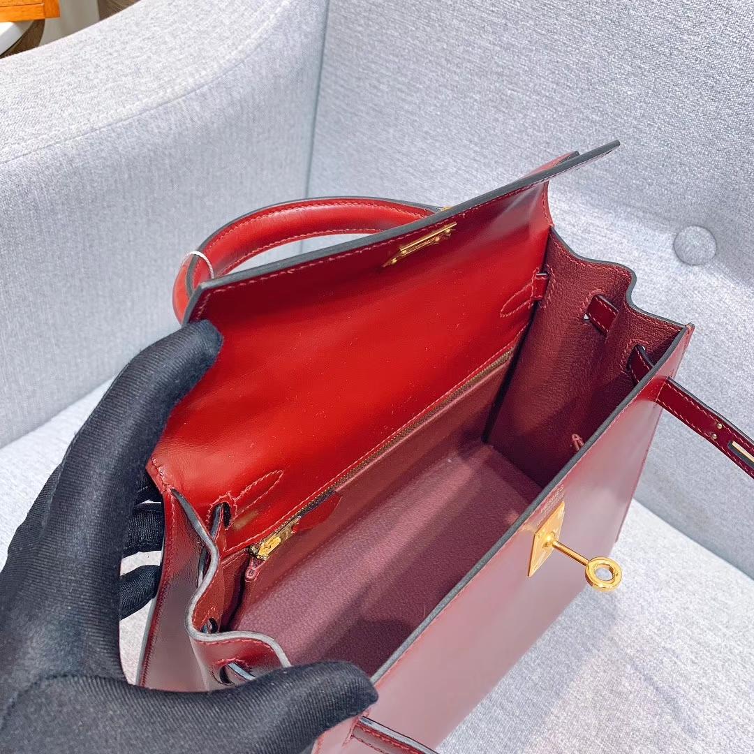 Hermes凯莉包 Kelly 25cm Box 55爱马仕红 金扣 全手缝蜡线