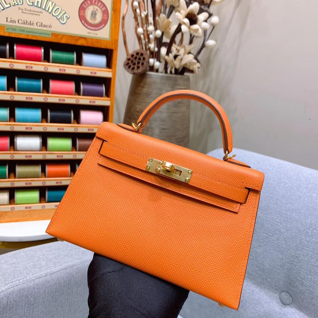 爱马仕批发 Mini Kelly二代 19cm Epsom 93橙色 金-银扣 蜜蜡线手缝