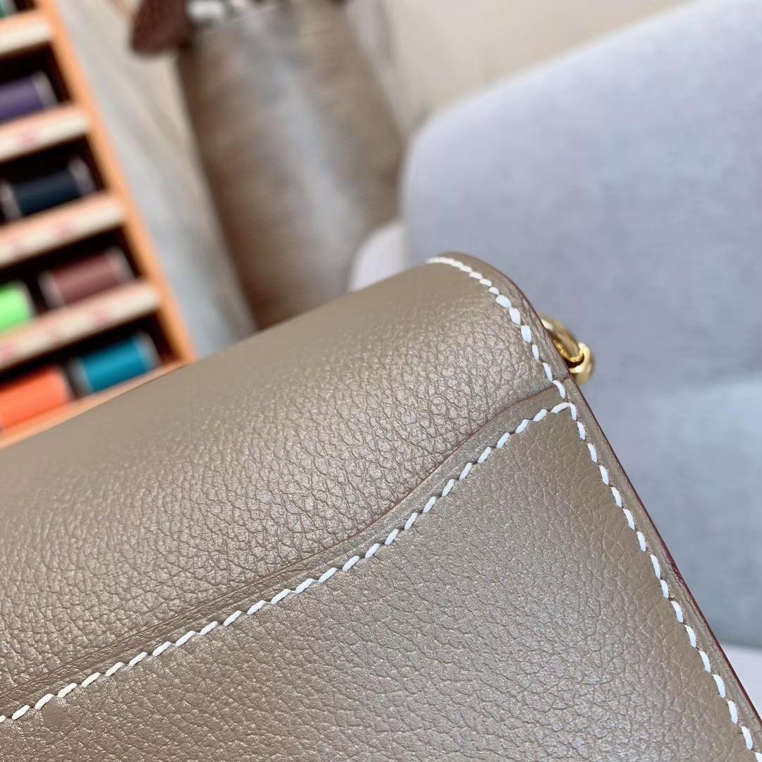 Hermes包包批发 Roulis Mini 19cm Evercolor 18大象灰 金扣