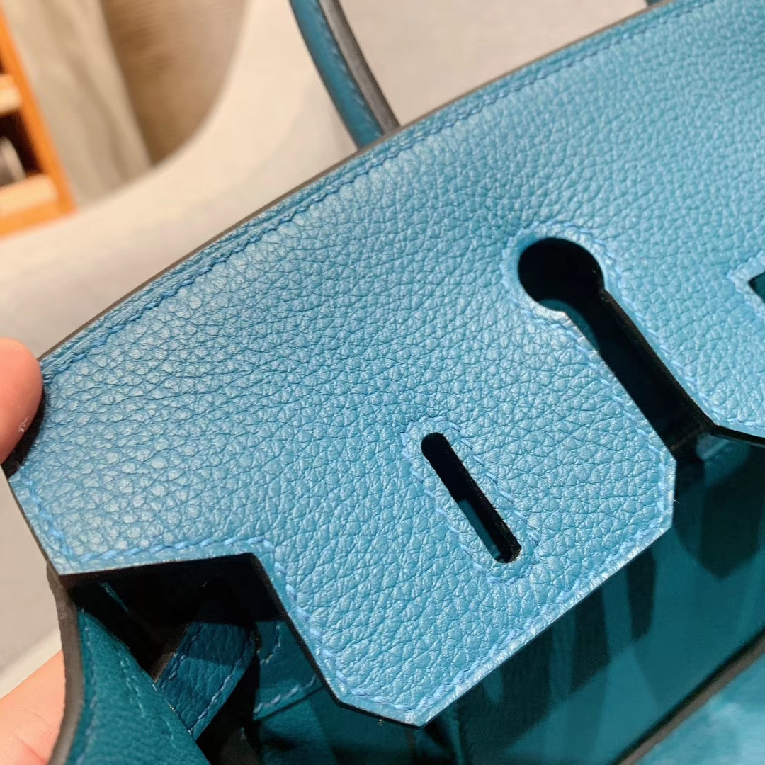 爱马仕铂金包 Birkin 25cm Togo W0博斯普鲁斯绿 银扣